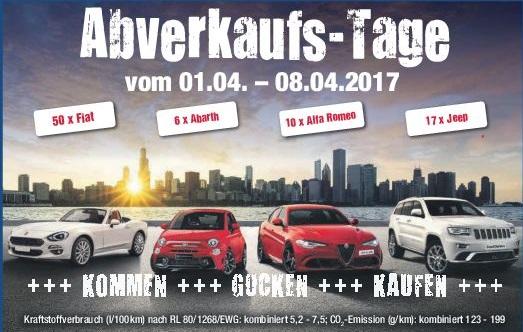 Abverkaufs-Tage im Autohaus Sellmann vom 1-8.04.2017